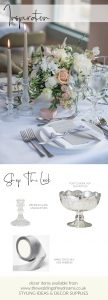 Elegant Babbington House wedding centrepieces shop the look glass candlesticks footed bowls silver grey ribbon place settings