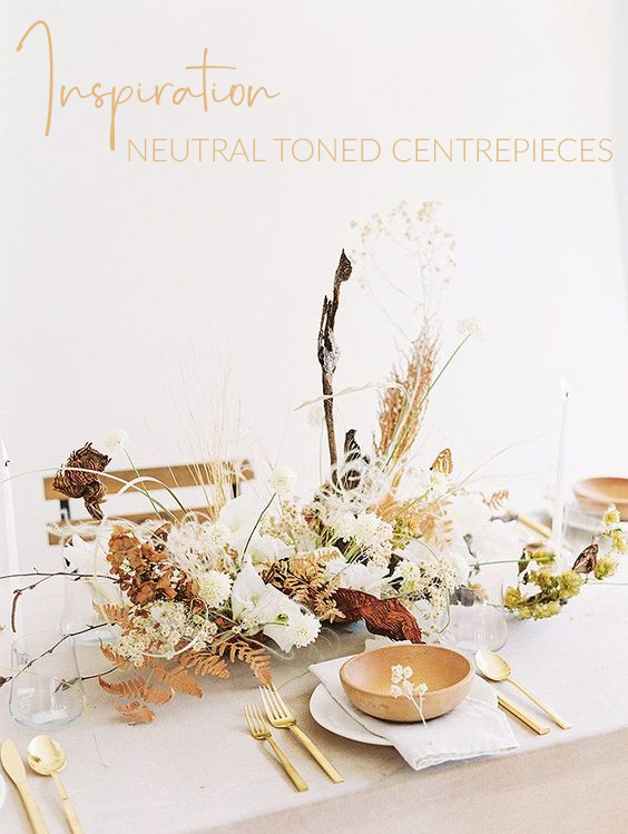 Neutral toned wedding centrepieces