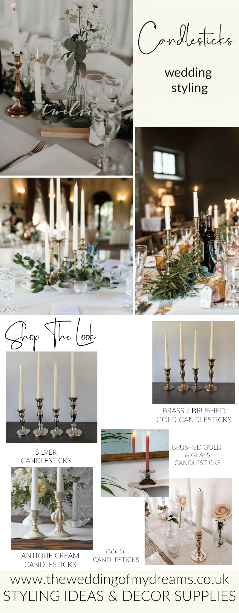Candlesticks for wedding centrepieces and venue styling