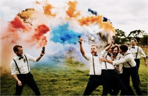 groomsmen wedding photos smoke bombs colourful ideas