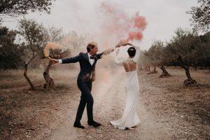 italian wedding photos smoke bombs olive grove