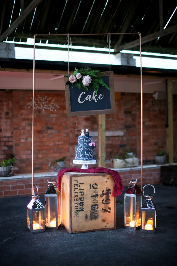 copper wedding arch cake displays