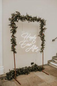 copper wedding arch sign display