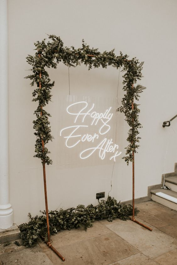 copper wedding arch sign display