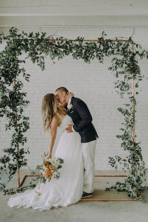 copper wedding backdrops with foliage