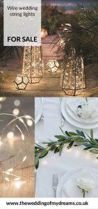 LED wire wedding string lights in lanterns