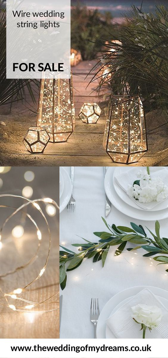 LED wire wedding string lights in lanterns