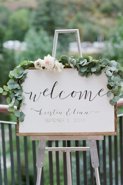 eucalyptus garlands wedding signs