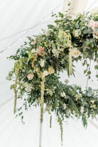 hanging hoops wedding marquee