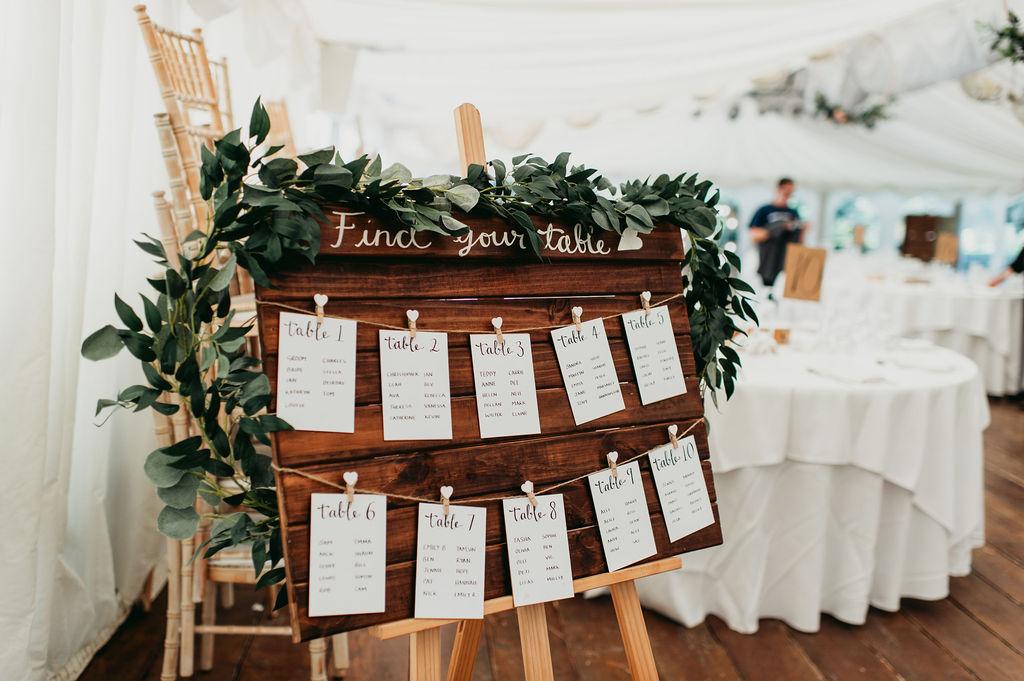 DIY wedding table plan pallet rustic wedding