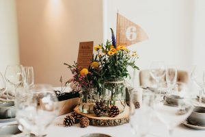 Tree slice rustic wedding centrepieces from The Wedding of my Dreams1