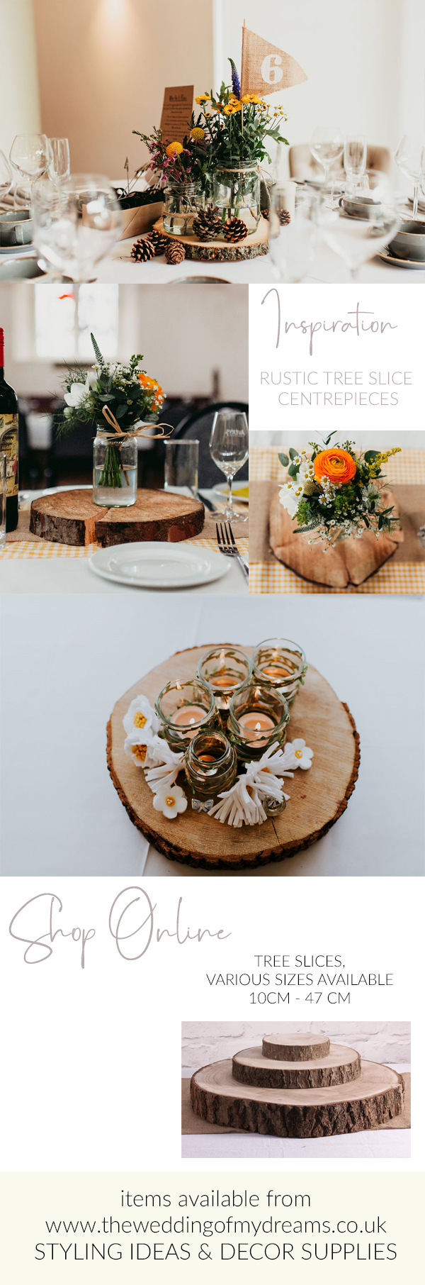 rustic barn wedding centrepieces tree slices ideas for sale
