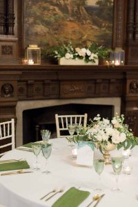 Gold footed bowls wedding centrepieces glass and gold tealights