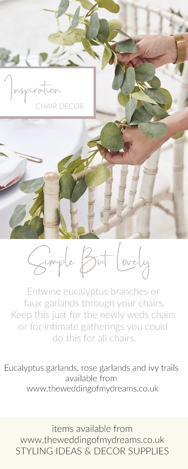 wedding chair decorating ideas foliage garlands eucalyptus