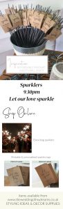 Affordable wedding favours sparklers and sparkler tags barn weddings