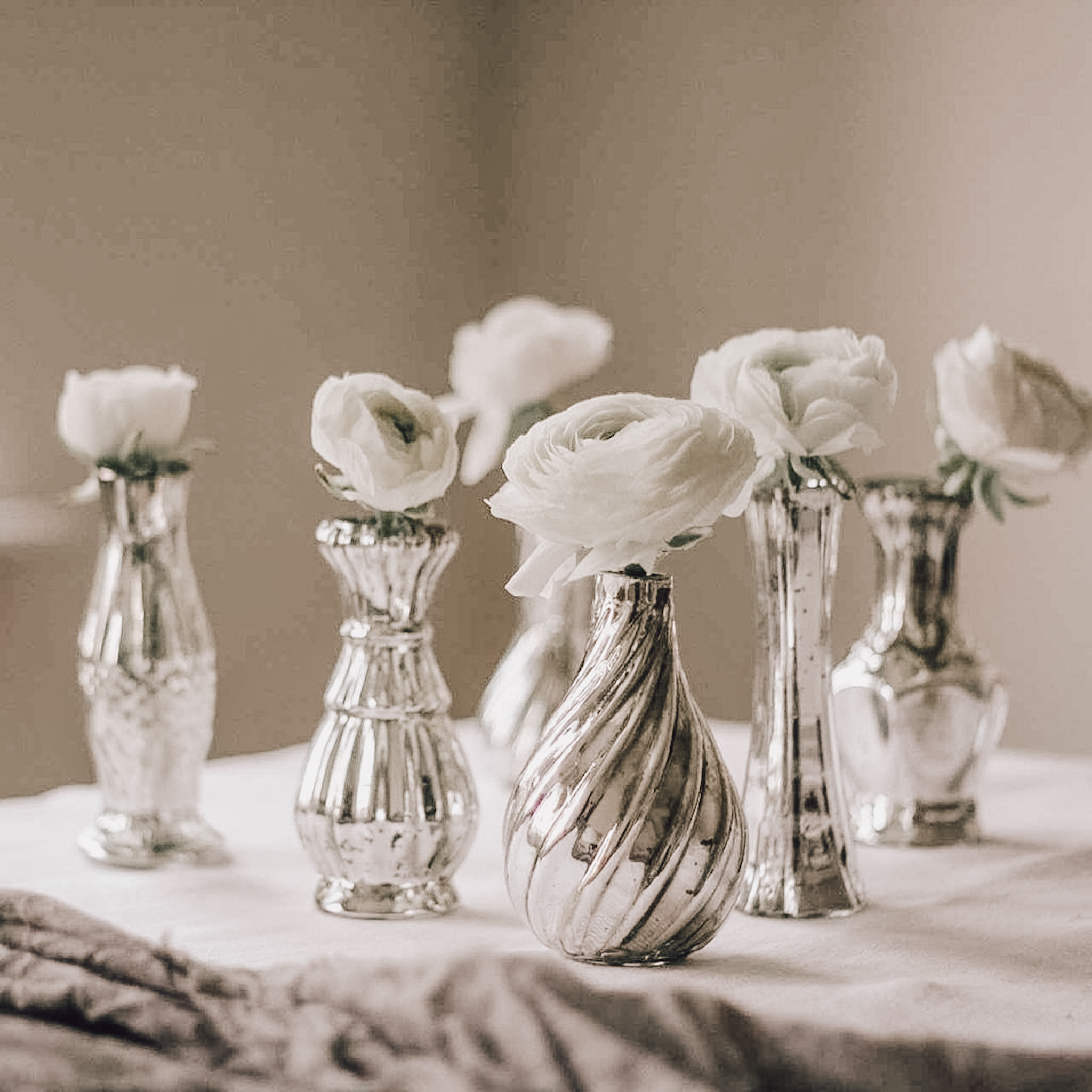Silver Bud vases for weddings