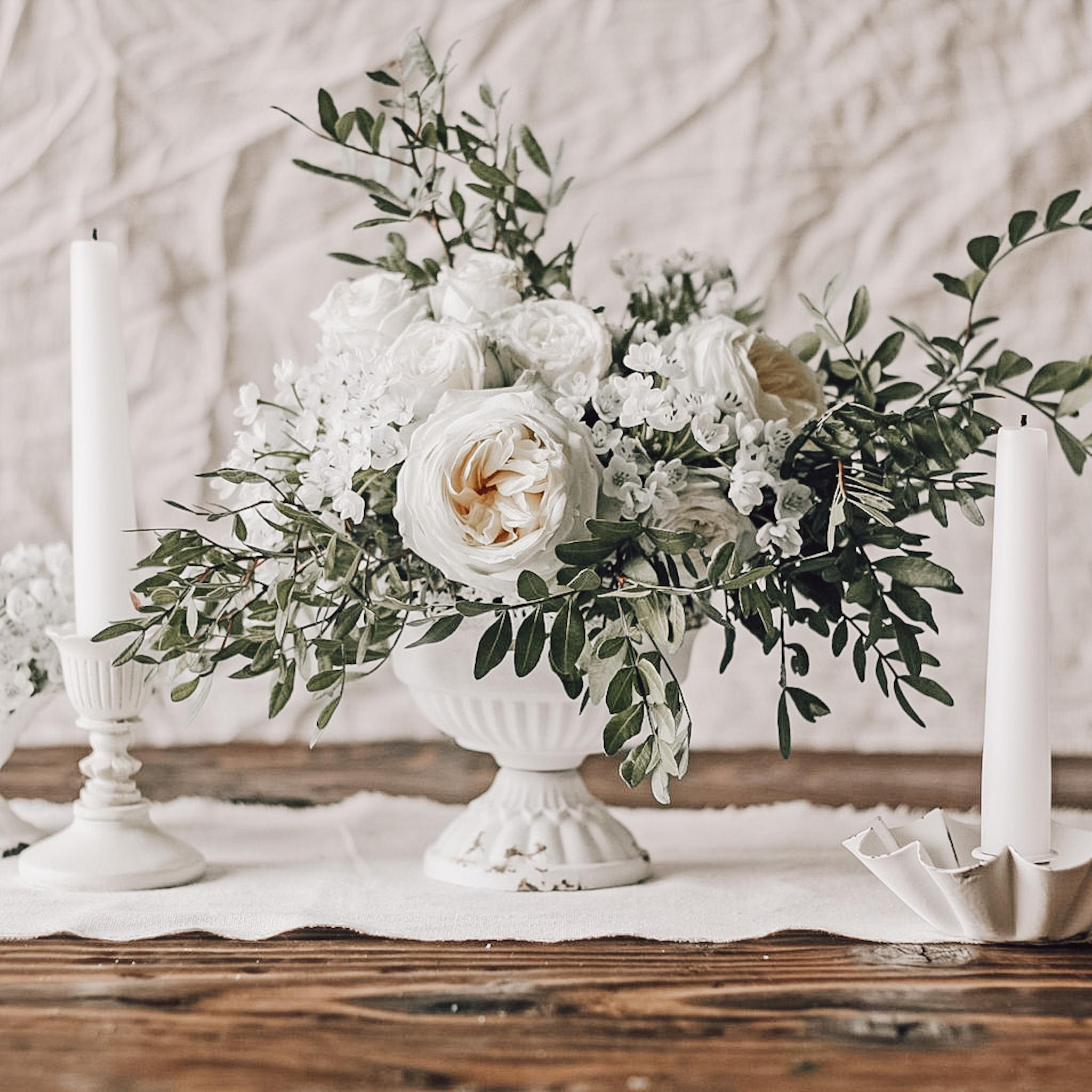 White Bud vases for weddings