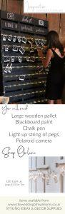 DIY polaroid photo displays wooden pallets DIY wedding styling ideas