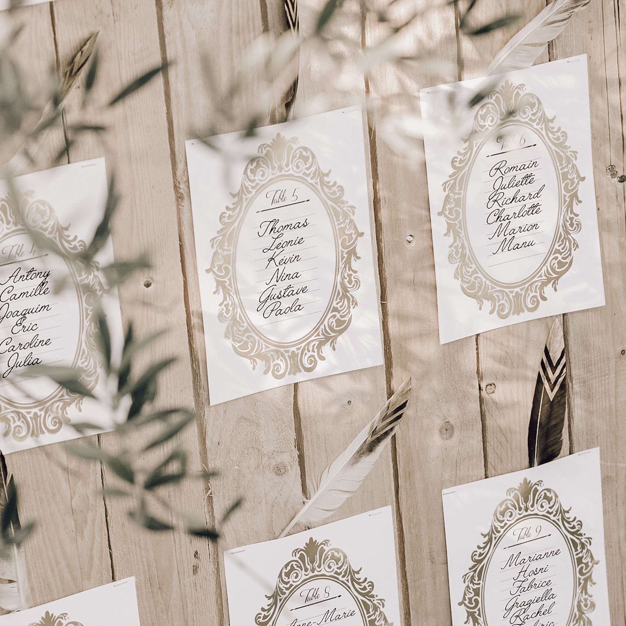 Gold wedding table plan cards
