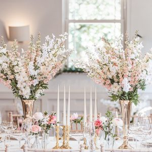 Gold wedding centrpieces gold candlesticks wedding ideas