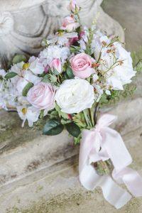 english rose wedding bouquet trailing pink ribbon