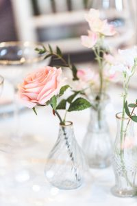 glass bud vases wedding gold and pink