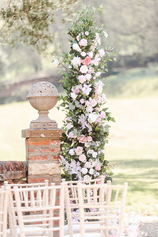 Country garden deconstructed arch pink