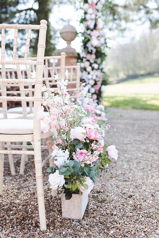 country garden wedding ceremony aisle flowers