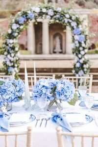 pressed glass and blue wedding ideas
