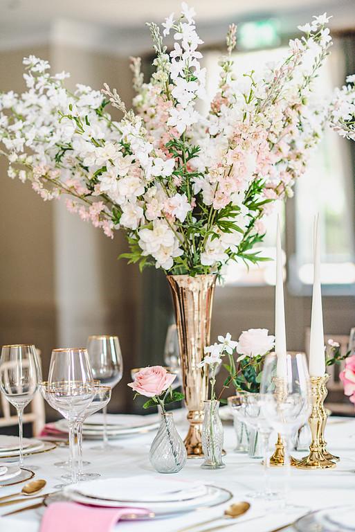 tall wedding centrepieces gold vase