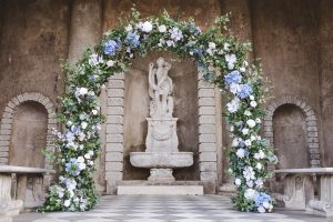 wedding arch natural blue flowers