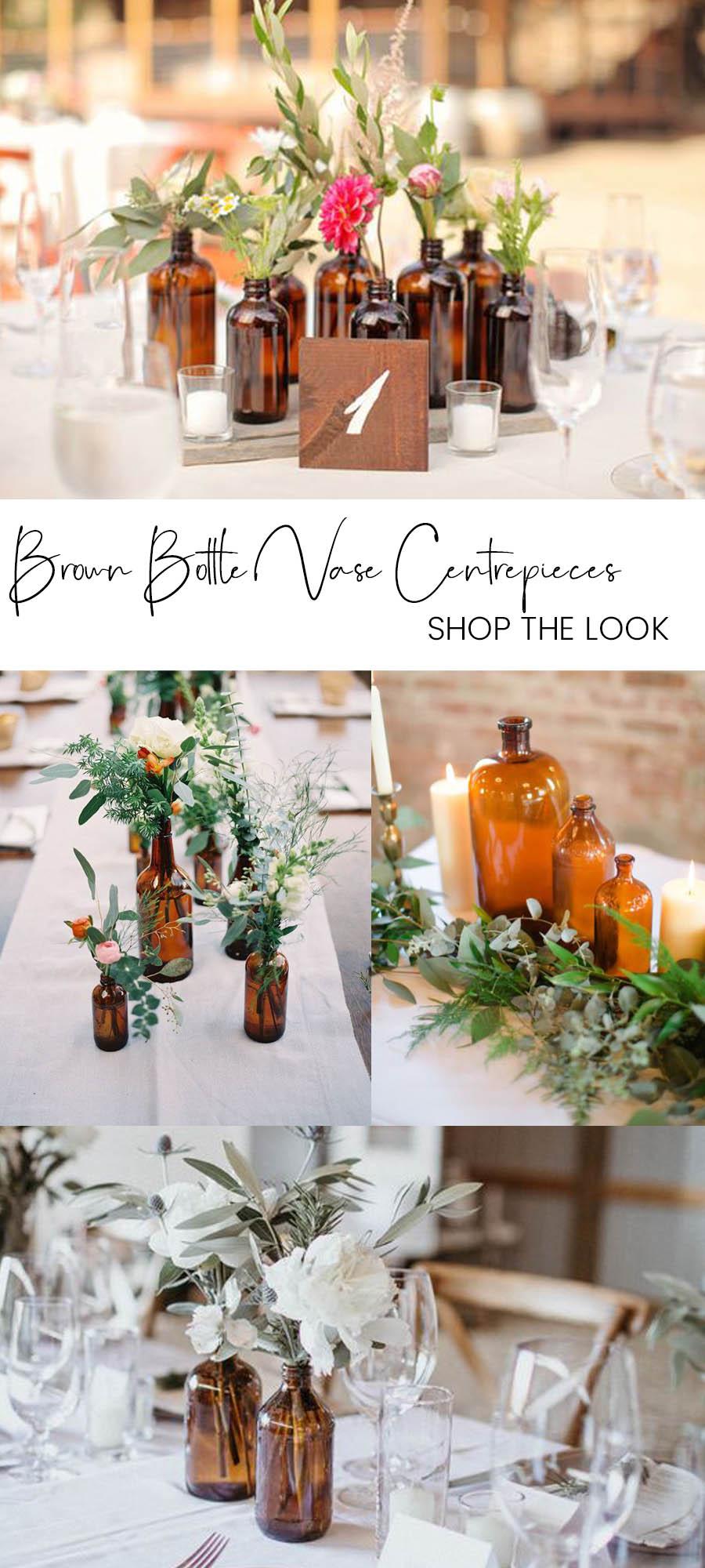 brown amber bottles wedding centrepieces